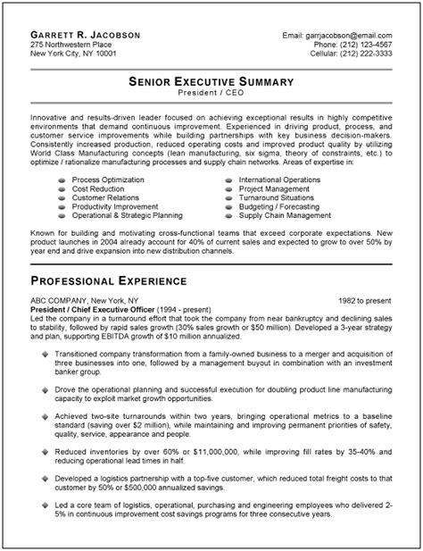 Resume Executive Summary Exle by Best Executive Resume Templates Sles Recentresumes