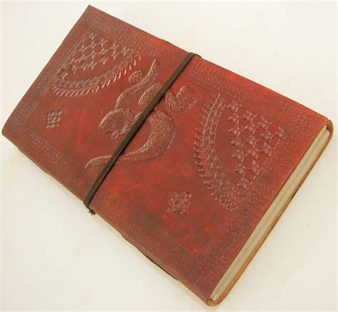 Handcrafted Journal - handcrafted om embossed paper leather journal