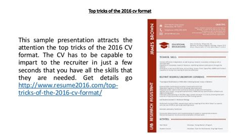 Presentation Cv 2016 by Top Tricks Of The 2016 Cv Format