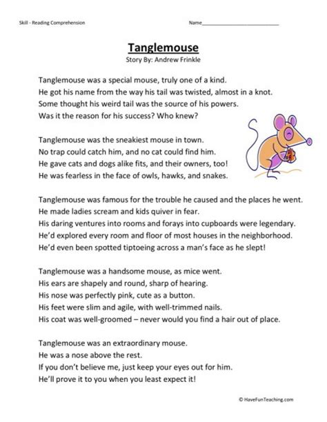 Free 3rd Grade Reading Comprehension Worksheets by Reading Comprehension Worksheet Tanglemouse