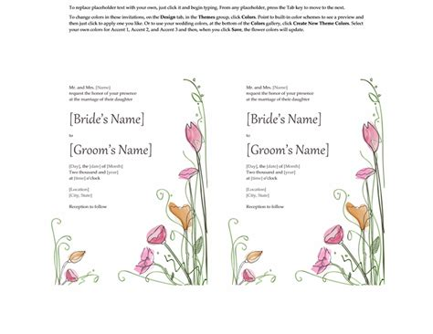 free wedding invitation templates word
