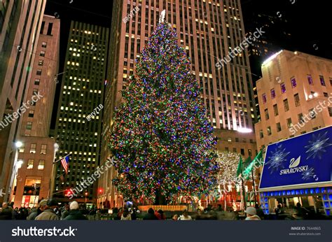 christmas decorations rockefeller center nyc stock photo