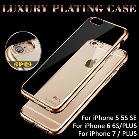 Chrome Clear Soft Casing Iphone 5 5s Se 6 6s ultra thin plating clear for iphone 7 7plus 6 6s plus 5 5s se cover capa fundas