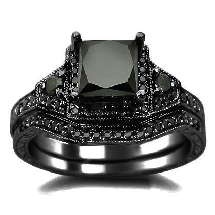 2 01ct black princess cut engagement ring wedding