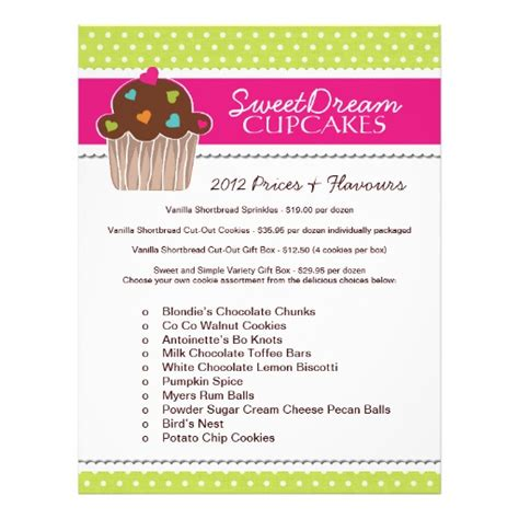 cupcake price list template cupcake bakery price list flyer zazzle