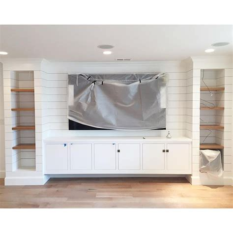 Shelves In Kitchen Instead Of Cabinets a diy shiplapped built in entertainment center chris
