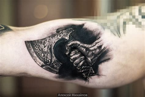 axe tattoo realistic with axe vikings realism by