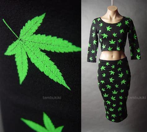 Gray Leaves Set S M L Top Skirt 30352 marijuana ganja cannabis leaf print crop top pencil skirt 42 mv set s m l ebay