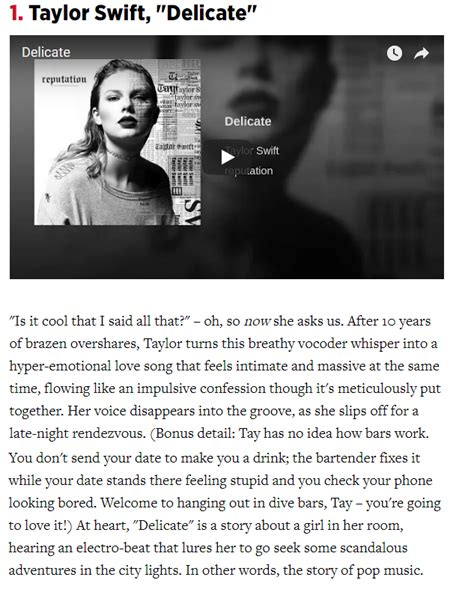 taylor swift delicate number one rolling stone ranked quot delicate quot 1 in their top 25 songs