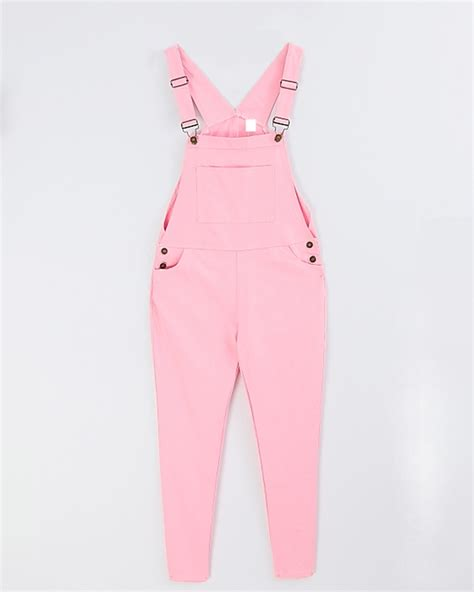 Pinkan Overal casual pencil pink overalls suspender trousers
