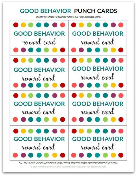 punch card templates for students pdf behavior punch card reward card for