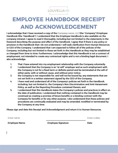 employee handbook receipt template acknowledge form template acknowledgement policy