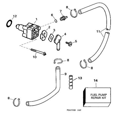 evinrude 15 hp fuel diagram evinrude fuel parts for 1998 15hp be15fwleca outboard