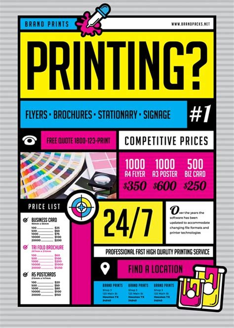 template of posters with business card freepsdflyer free print shop flyer template