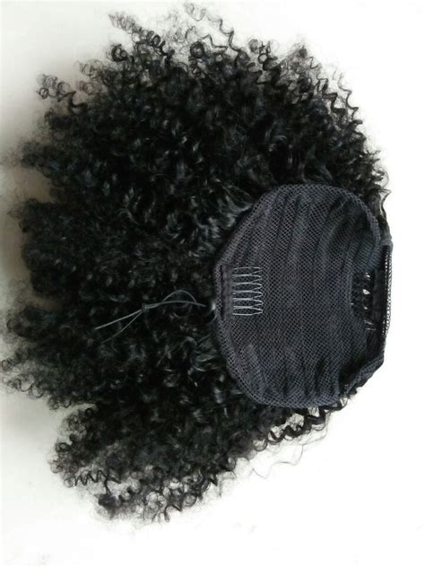 large drawstring curly afro puff ponytail african american afro puff kinky curly clip ins human hair