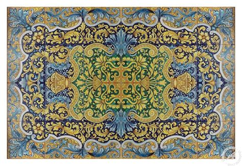 italian ceramics tile panel table top quot arabesque
