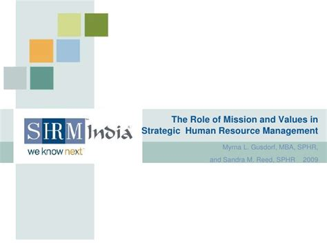 Mba In Strategic Management In India by The Of Mission And Values In Strategic Human Resource