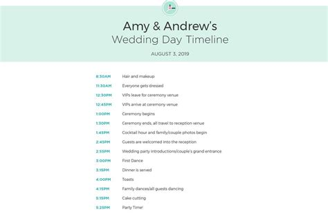 wedding itinerary templates  timelines