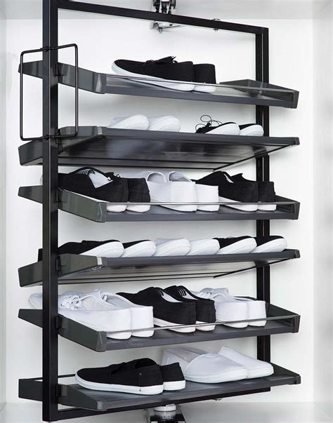 shoe storage system easy shoe storage with revolving shoe system capital closets