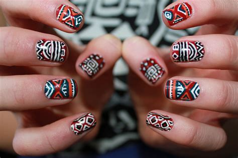 aztec pattern nail art aztec tribal inspired nail art tutorial youtube