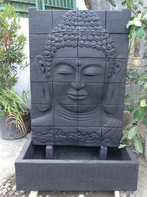Fontaine D Eau De Jardin mur d eau avec bassin visage de bouddha noir h 1 m 50