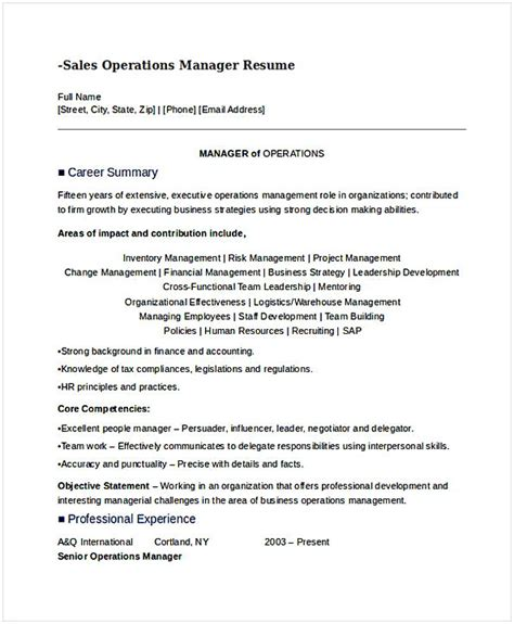 Resume Sles General Manager Operations general manager resume