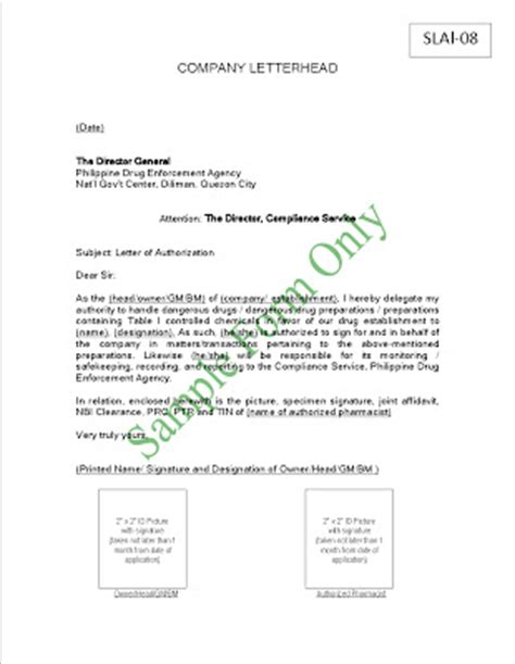 Authorization Letter Business Permit Pharmacy Pdea Forms For S License Application