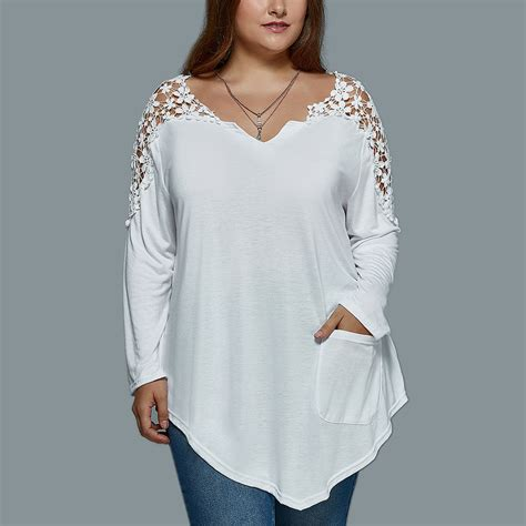 Id 2248 Crochet V Neck With Inner Blouse womens v neck crochet sleeve casual top t shirt blouse plus size