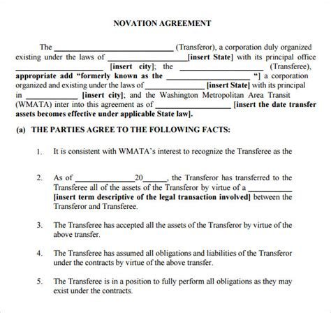 Tenancy Agreement Template Uk novation agreement 6 free pdf doc download