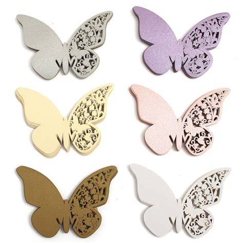 Paper Weight Butterfly 03 Small Dec66 Gold 20pcs butterfly wedding name place cards wine glass laser cut pearlescent card accessories