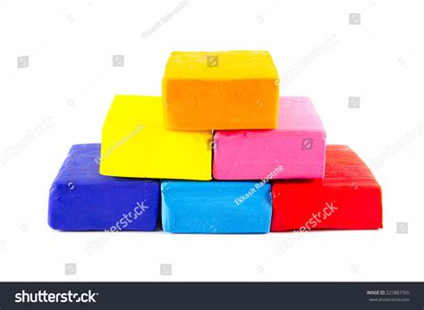 colorful clay colorful clay on white background stock photo 227887765