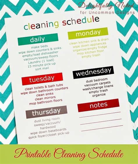 printable daily cleaning schedule printable weekly cleaning schedule weekly cleaning and