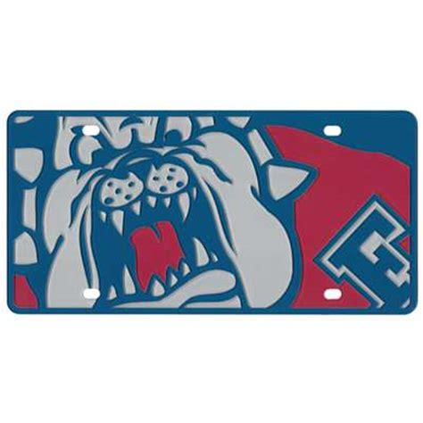 fresno state colors fresno state bulldogs color mega inlay license plate