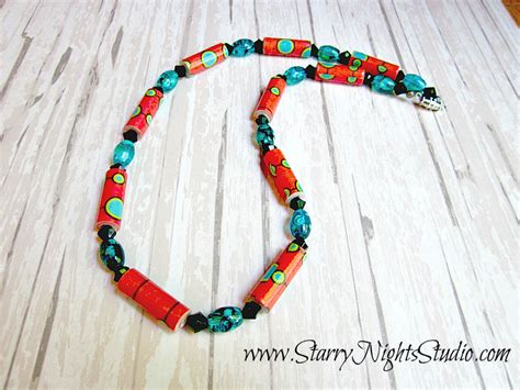 paper bead necklace inside starry nights studio retro chic paper bead necklace