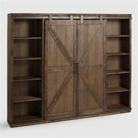 Wood Bookcase With Doors by Wood Farmhouse Barn Door Bookcase World Market