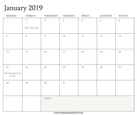 2019 Calendar With Holidays And Observances January 2019 Calendar Templates