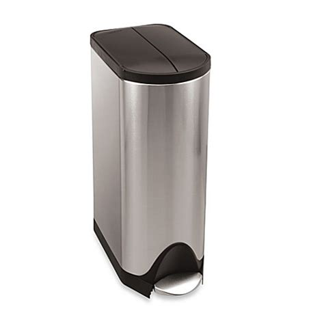 bed bath and beyond simplehuman trash can simplehuman 174 brushed stainless steel butterfly 30 liter step on trash can bed bath