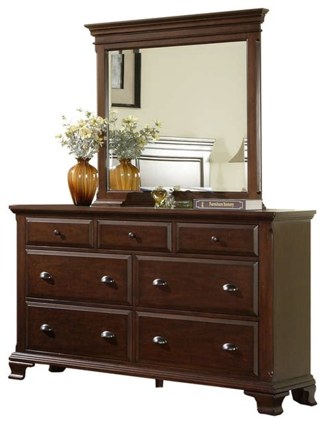 Traditional Dressers by Brinley Cherry Dresser And Mirror Traditional Dressers