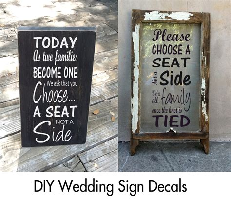 choose a seat not a side wedding sign choose a seat not a side sign decal wedding decals today
