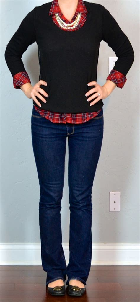 bootcut jean outfits for 2015 outfit post red plaid shirt black sweater bootcut jeans