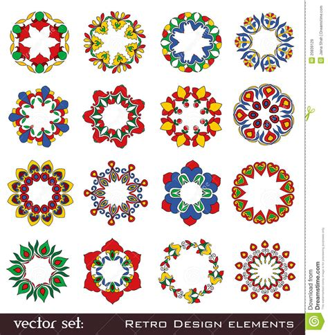 design elements flowers retro flower elements for design stock vector