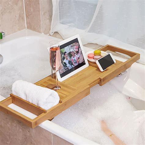 honana bx 816 expandable bamboo bath caddy wine glass