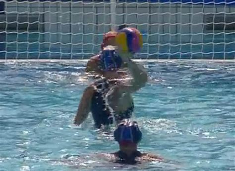 Water Slide Wardrobe by 2016 Olympic Water Polo Player Suffers Awkward Nip