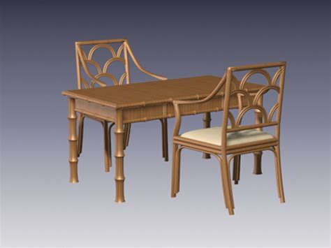 Bamboo dining table and chairs 3d model 3D Studio,3ds max