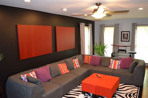 Orange Rug Living Room by Living Room Black Wall Canvas Orange Ottomans