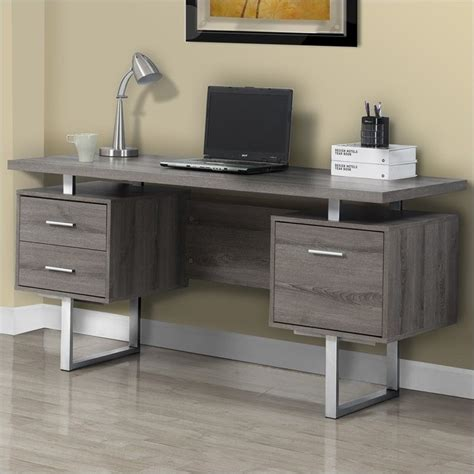 60 quot hollow computer desk in taupe i 7082