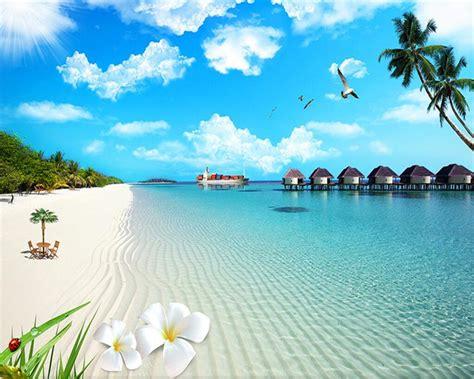 wallpaper biru pemandangan beibehang wallpaper kustom matahari lanskap lukisan