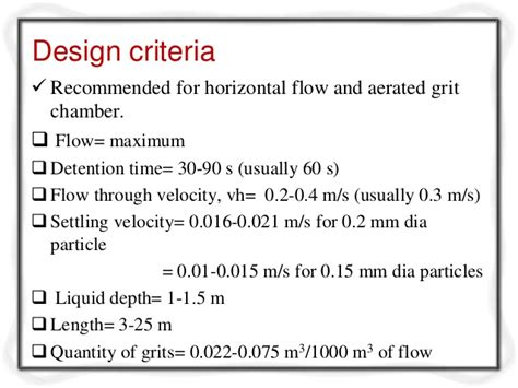 design criteria for grit chamber designcriteriaforwastewatertreatment 120411055901 phpapp02