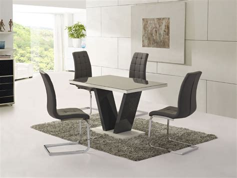 Glass Dining Table And Chair Sets Ga Vico Gloss Grey Glass Top Designer 160cm Dining Set 4 6 Grey White Chairs