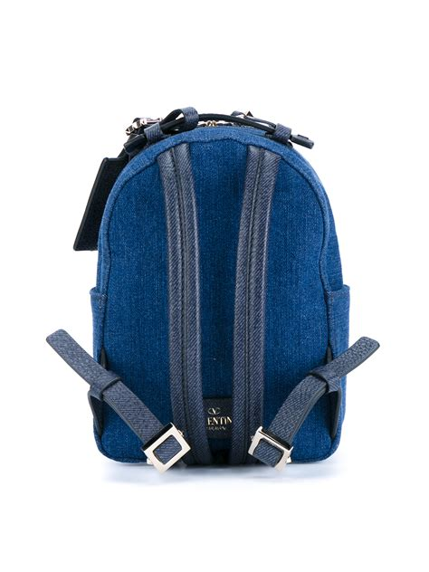 valentino butterfly denim backpack in blue lyst